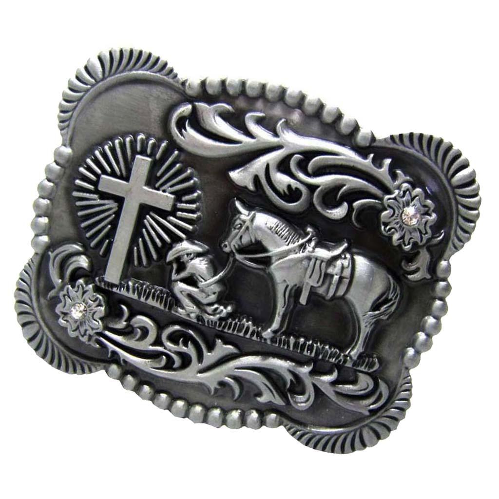 Retro Antique Silver Western Cowboy Prayer Cross Horse Scroll Belt Buckle