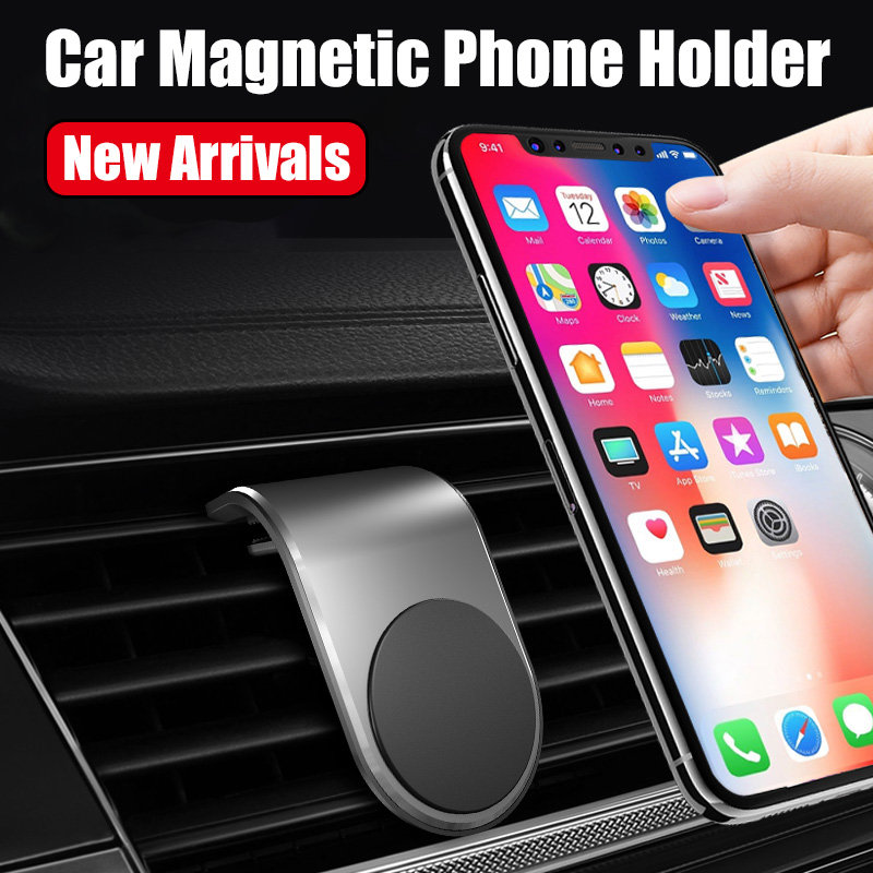 Car Car Magnetic Phone Holder L-shaped Clip Air Hole Mounting Bracket Mobile Phone GPS Holder Bracket For IPhone 11 Xiaomi