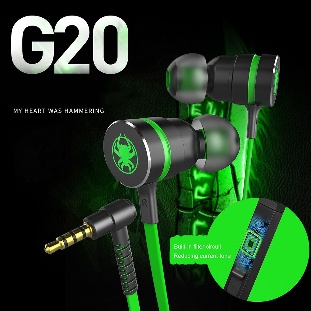 G20 Bass Hammerhead Gaming Earbuds Earpiece Stereo Wired Magnetic Earphone With Mic For Phone PC MP3