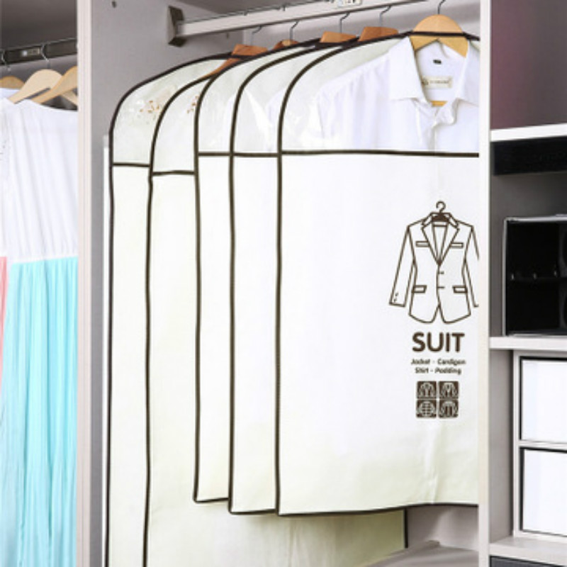 Two Sizes Clothes Dust Cover Non-woven Fabric Case For Household Hanging-type Coat Suit Protect Storage Bag Wardrobe Organizer