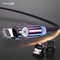 Магнитный usb-кабель YKZ для iPhone huawei samsung type C type-C Быстрая зарядка USB C Магнитный кабель Micro USB для мобильного шнур для телефона