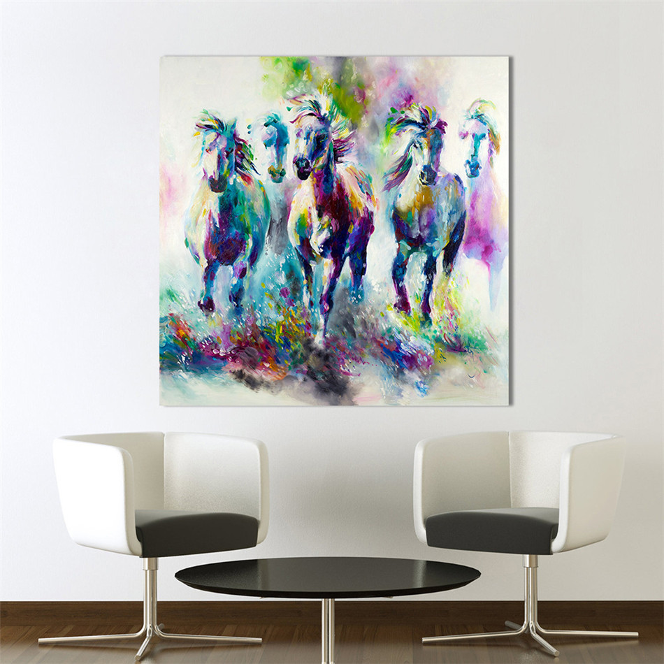 VOGVIGO Colorful Horse Abstract Oil Painting on Canvas Modern Portrait Print Decorative Art Picture for Living Room Office