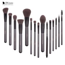 DUcare ماكياج مجموعات فرش 15 قطعة عالية الجودة المهنية فرشاة مجموعة مع مرآة محمولة التجميل المكياج فرش مع حقيبة