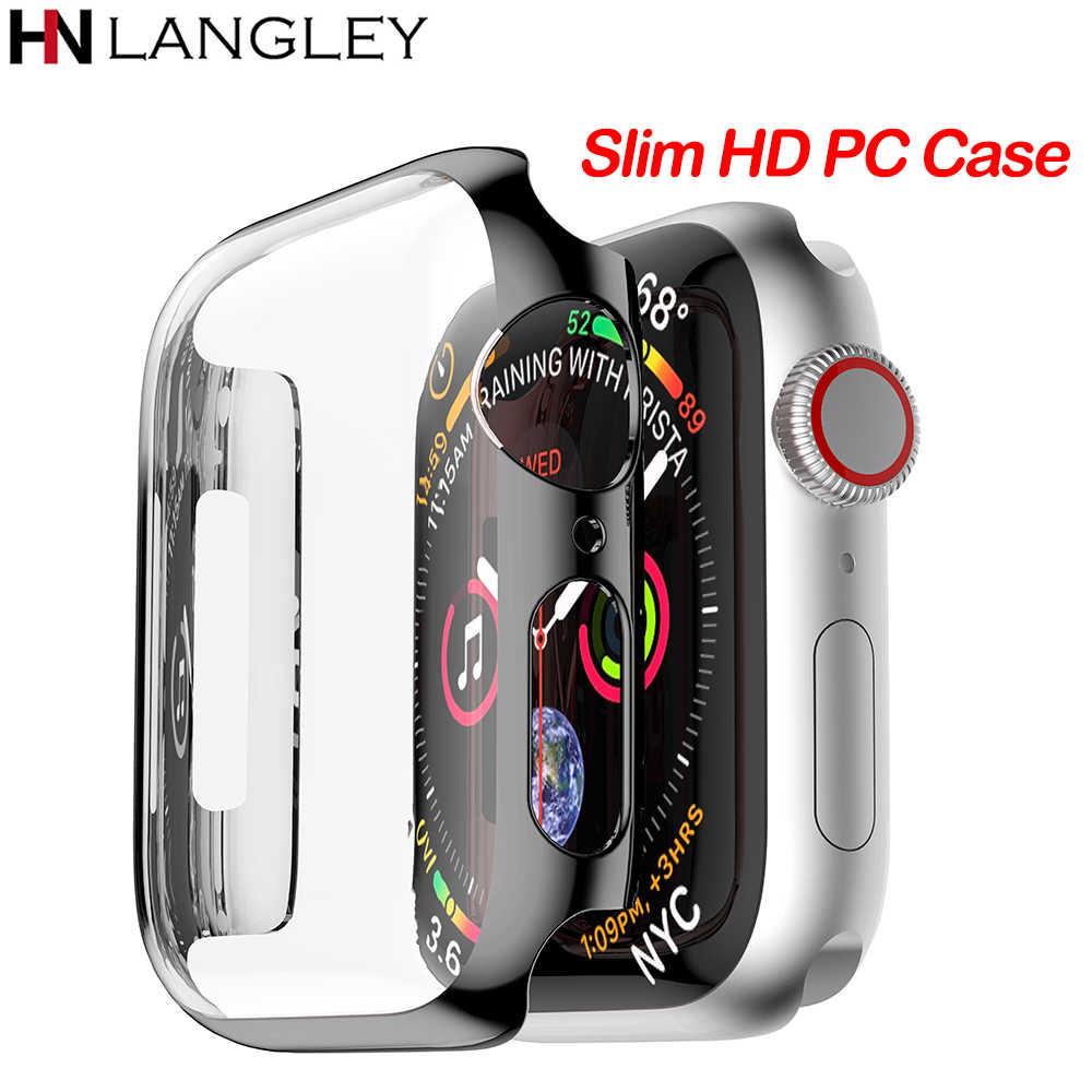 Ультра тонкий HD PC чехол для Apple Watch Series 4 3 2 1 38 42 40 44 мм Чехол встроенный жесткий защитный чехол для iWatch band