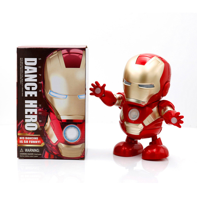 2019 Dance Hero Avengers Electric Action Figures with LED Flashlight Soundable Music robot Ironman Spiderman Hot Toys for Kids image