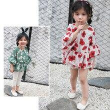 Рубашка для девочек Новинка года, стильная детская рубашка в Корейском стиле с милым цветочным принтом и укороченными рукавами, топы