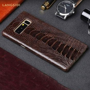 100% Original Genuine Ostrich Leather phone Cases for Samsung Galaxy Note 10 8 9 s10 a50 a70 s7 S8 S9 plus a8 Luxury back Cover