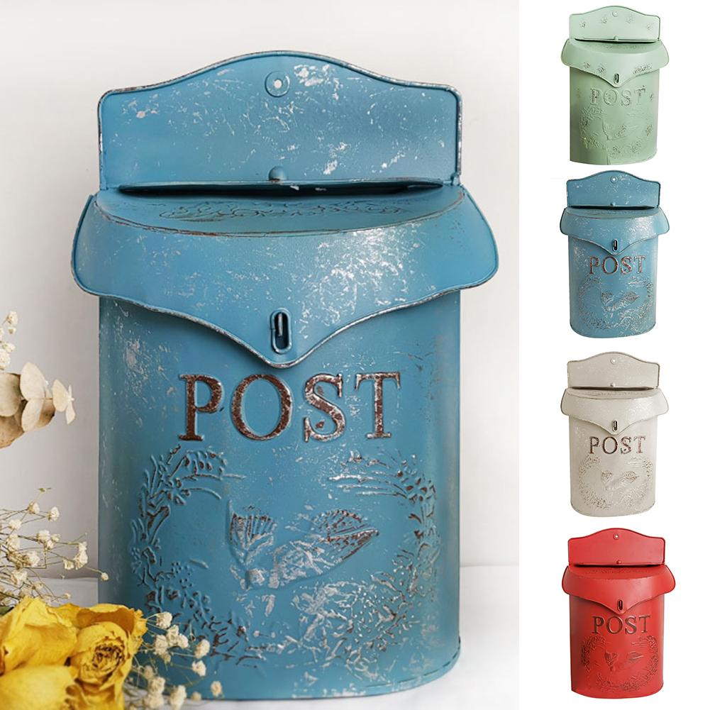 Vintage Metal Lockable Secure Post Letter Newspaper Mail Box Garden Ornament Mail Box Portable Lightweight Durable Vintage Style