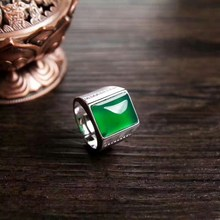 Jadery Green Jade Silver Ring 925 Men Ethnic Chalcedony Open Men Ring Party Wedding Sterling Silver Jewelry Black Friday 2019 sterling silver inlaid green chalcedony ring silver retro female food