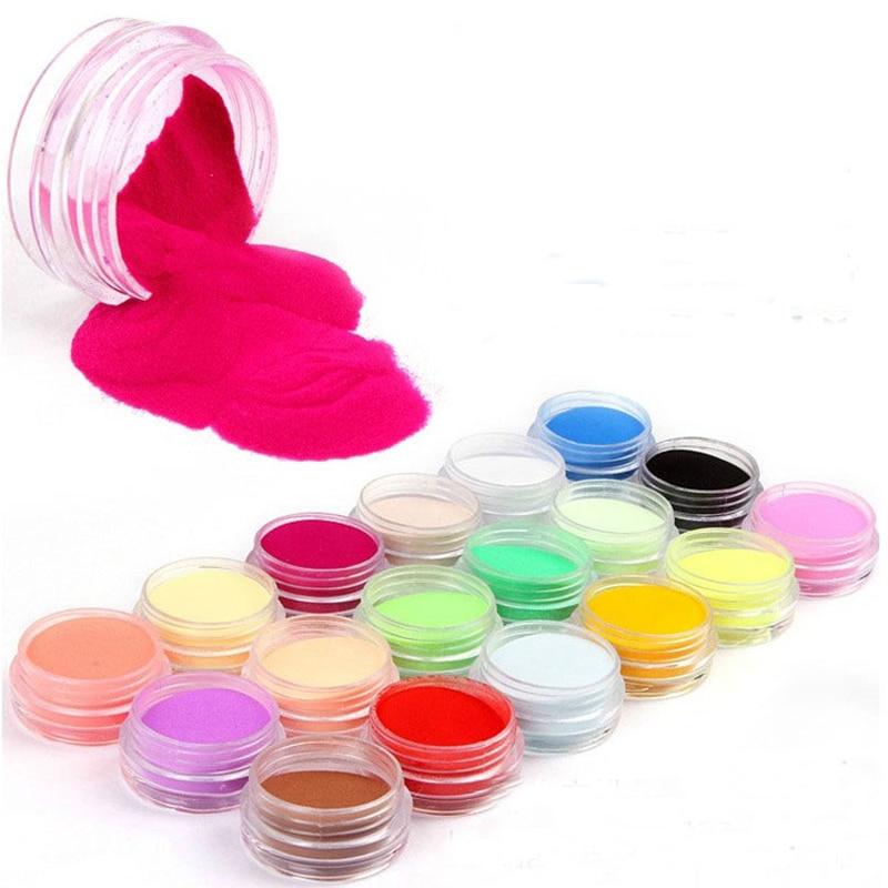 18 Colors Set Nail Acrylic Powder Dipping Nail Powder Colorful Nail Art Glitter Powder Acrylic Set For Nail Art Decoration FB99
