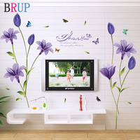 Romantic Purple Lily Flower Wall Sticker TV Sofa Decoration Art Vinyl Home Decor Beautiful Flower Wallpaper Butterfly Wall Decal
