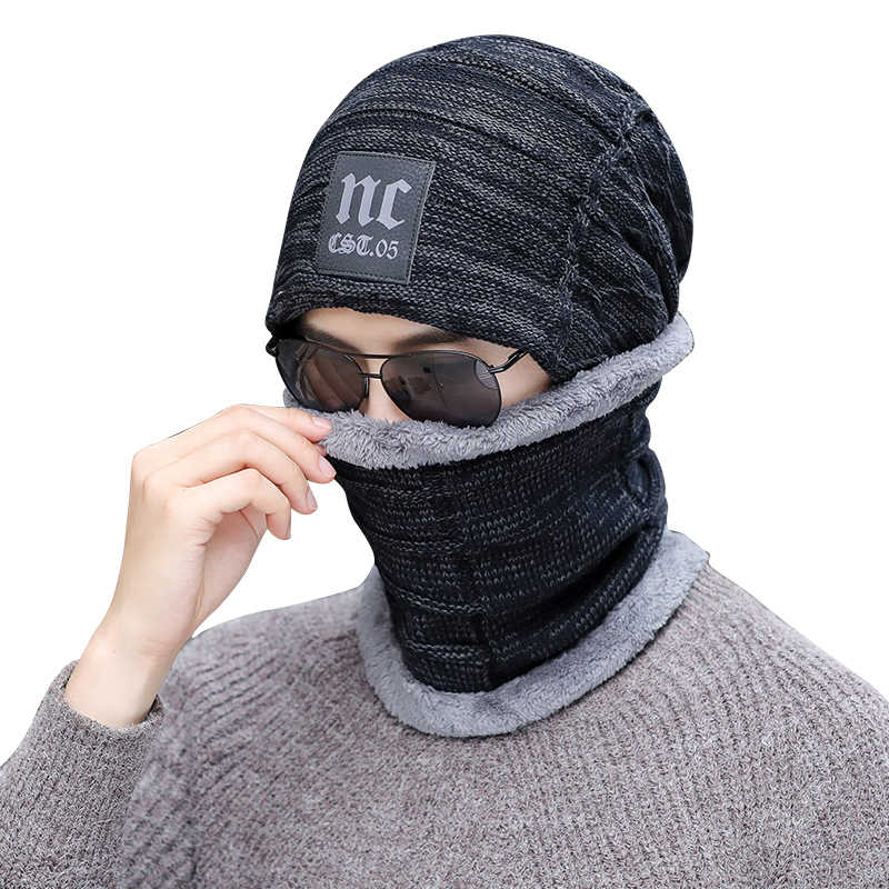 Nieuwe Winter Gebreide Muts Beanie Mannen Sjaal Skullies Mutsen Wol Winter Hoeden Voor Vrouwen Mannen Caps Gorras Motorkap Masker Merk hoeden