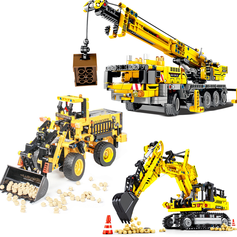 Engineering Derrick Car Model Building Blocks Legoingly DIY Crane Excavator Technic City Construction Bricks Toys Children