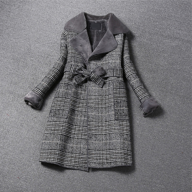 Fashion Vintage Plaid Wool Coat  3