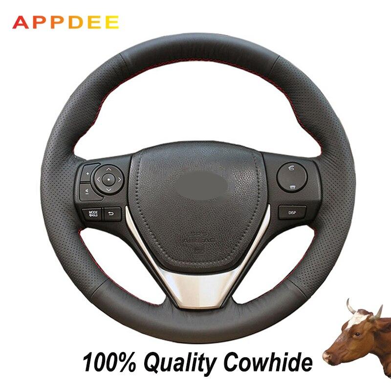 Чехол на руль из натуральной кожи для Toyota RAV4 2013-2018 Toyota Corolla 2014-2017 Auris 2013-2016