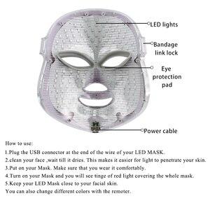 Image 4 - 7 צבעים Led פנים מסכת יופי טיפוח עור התחדשות קמטים אקנה הסרת פנים יופי טיפול הלבנת להדק מכשיר