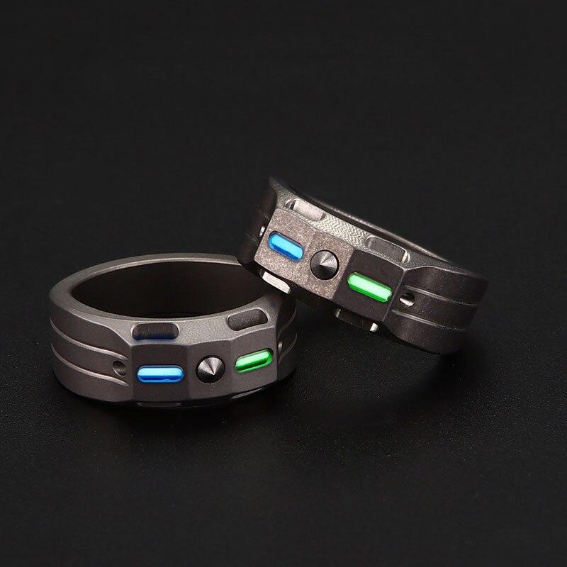 EDC Alloy Finger Ring Tritium Gas Tubes Pendant Paracord Decorations Tools Individual Defense Titanium Alloy Self Defense Ring