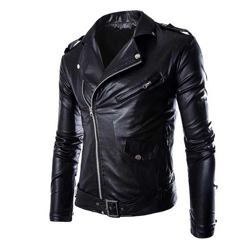 JODIMITTY Herbst Winter Mode Motorrad Jacken Leder Mode Moto Jacken Männer Slash Zipper Revers Biker Faux Leder Mantel