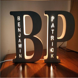 Wooden USB LED Night Light 24 Letter Personality Atmosphere Lamp Customized Set-up Decorative Lamp for Couple Baby Room Bedroom
