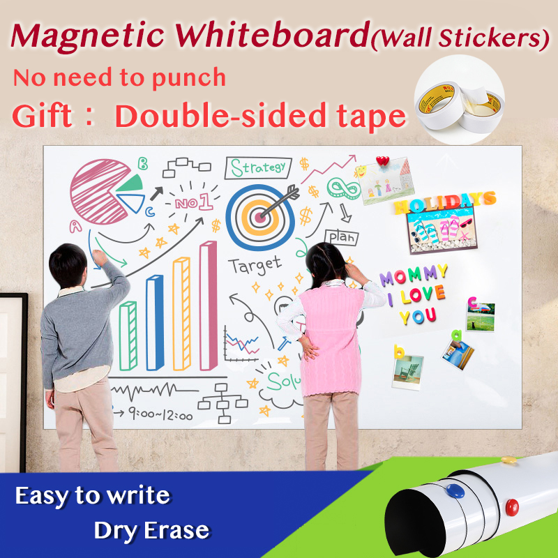 Size 420*900mm Magnetic Whiteboard Dry Eraser White Board Memo Wall Stickers School Office Magnetic Pad Gift Double-sided Tape 1