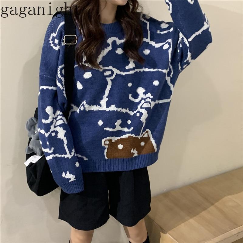 Gaganight Bear Causal Loose Girls Sweater Long Sleeves O Neck Harajuku Women Pullover Korean Autumn Winter Jumper Students Retro
