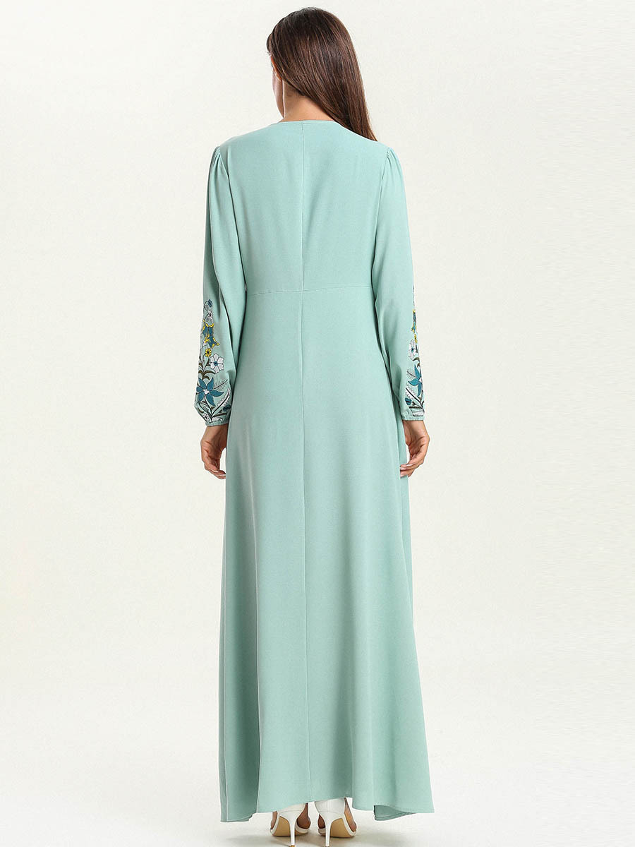 Abaya Dubai mode grande taille en vrac couleur unie broderie dentelle à manches longues Musulmane Femme robe - 5