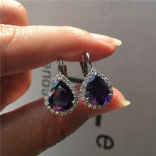Charm Female Small Teardrop Earrings Boho 925 Silver Clip Earrings For Women Crystal White Blue Red Purple Earrings(China)