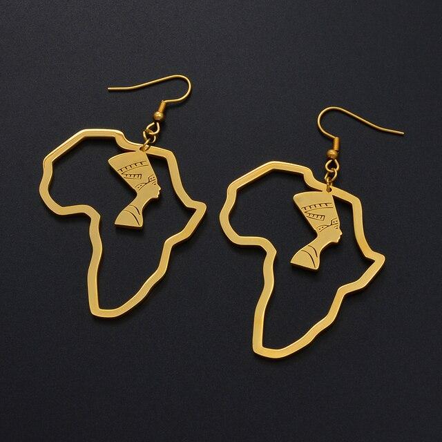 Anniyo or couleur acier inoxydable reine égyptienne Nefertiti boucles doreilles carte africaine boucles doreilles bijoux afrique ethnique cadeau #116821