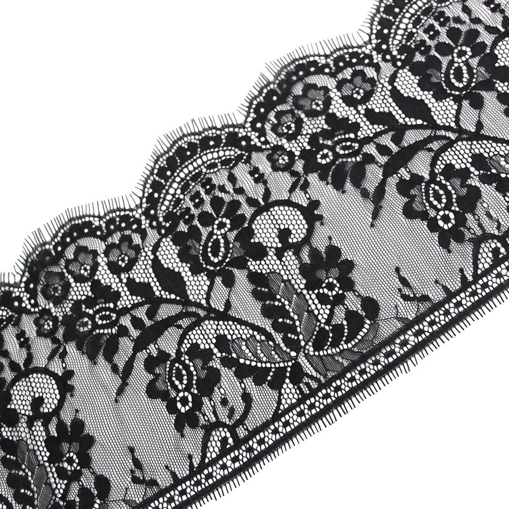 3 Meters/pcs 18cm genişlik siyah kirpik dantel Trim çiçek tek taraflı dalga dantel kumaş el yapımı Diy elbise aksesuarları iç çamaşırı