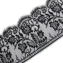 3Meters/pcs 18cm width Black Eyelashes Lace Trim Flower Unilateral Wave Lace Fabric Handmade Diy Clothes Accessories Underwear