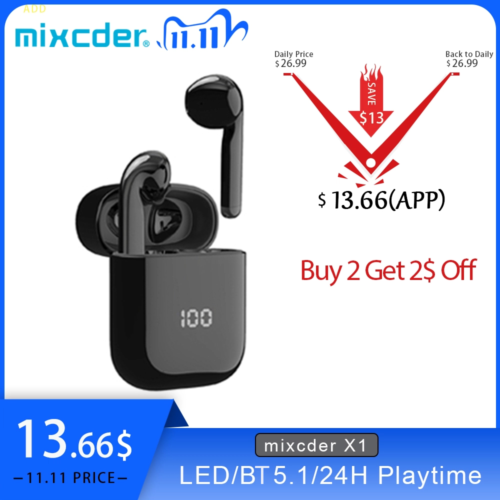 Mixcder X1 TWS Bluetooth Wireless Earphones with 4 Microphone BT5 1 Noise Cancellation Earbuds Sports Earphone 24Hrs Playtime