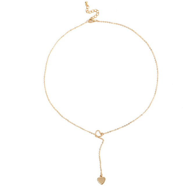 New fashion trendy jewelry copper heart chain link necklace gift for women girl Accessories Jewellery & Watches Women's Fashion