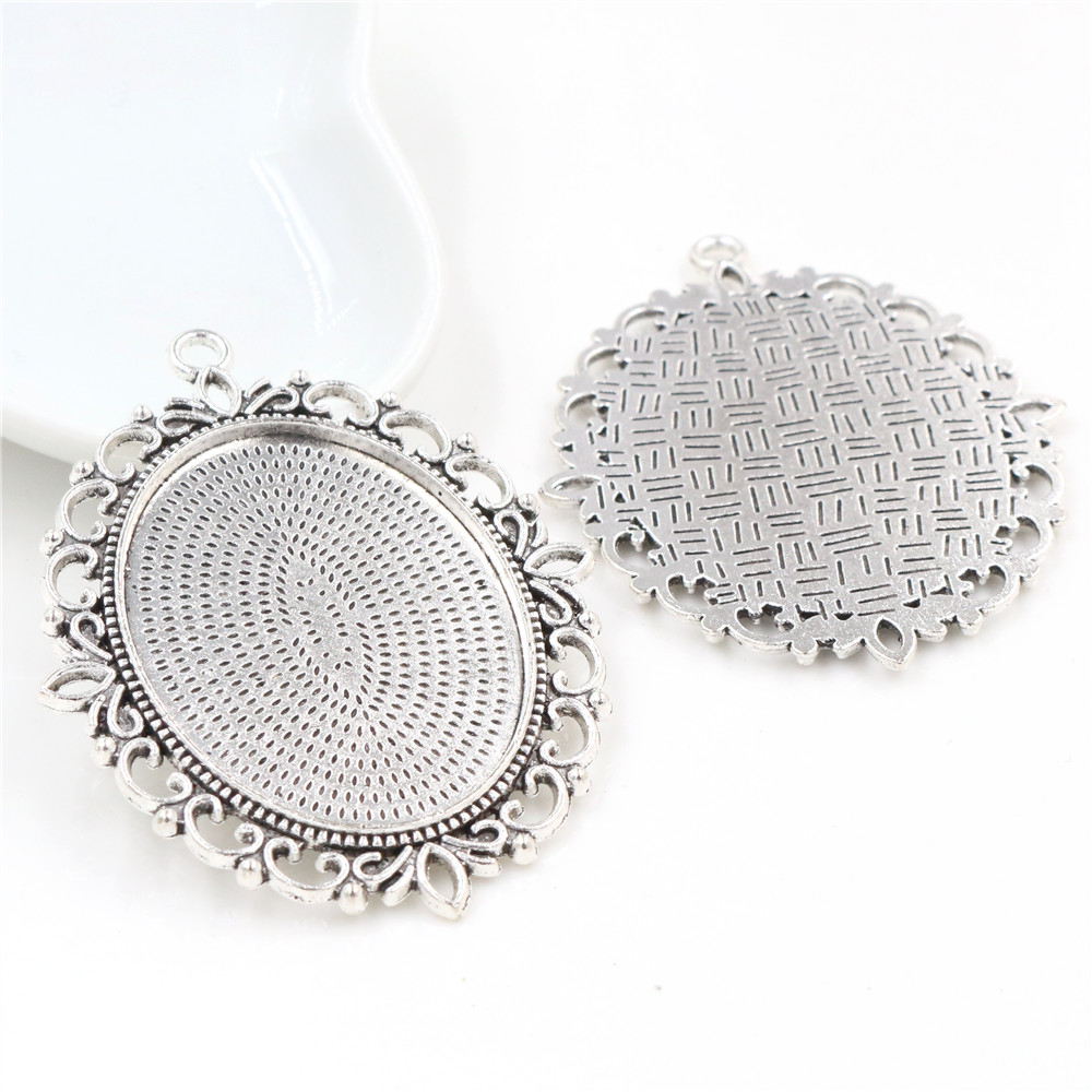 5pcs 30x40mm Inner Size Antique Silver Plated Pierced Style Cabochon Base Setting Charms Pendant (B3-51)