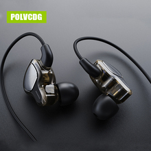 POLVCDG Black In-ear Mic 3.5mm HiFi Noise Reduction D6 Earbuds With Wheat Line Control Sub Woofer Earphones