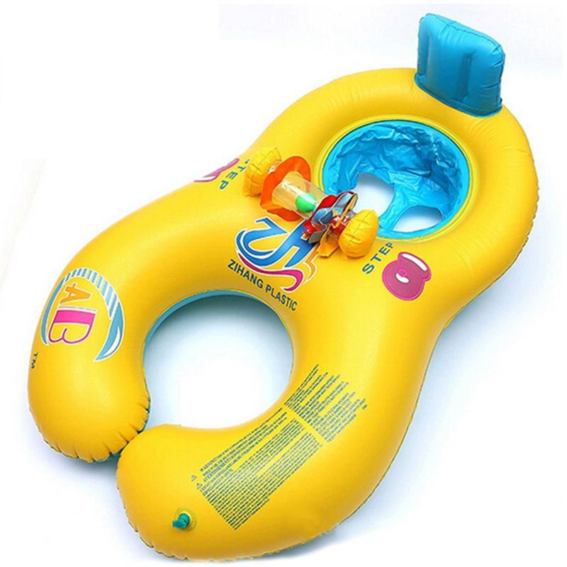 Safe Soft Inflatable Mother&Baby Swim Float Ring Kids Seat Double Person Swimming Pool