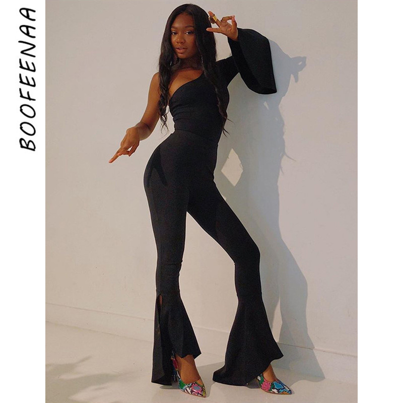 BOOFEENAA Black One Shoulder Long Sleeve Sexy Jumpsuit Bell Bottoms Women Fashion Fall Outfits Clubwear Party Romper C66-AD27