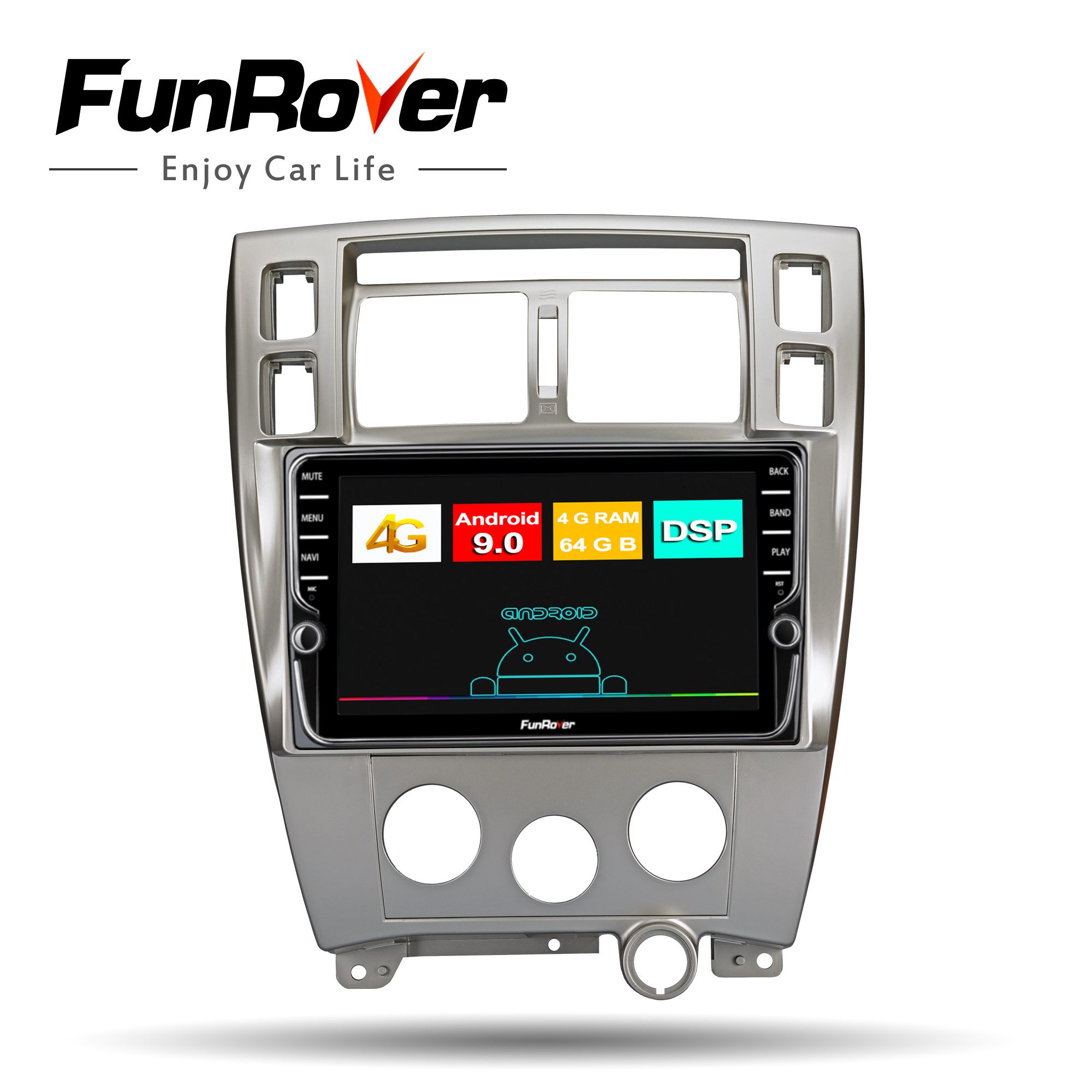 Funrover 8 cores <font><b>car</b></font> <font><b>radio</b></font> multimedia player dvd android 9.0 <font><b>For</b></font> <font><b>Hyundai</b></font> <font><b>Tucson</b></font> 2006-2014 <font><b>2</b></font> <font><b>din</b></font> autoradio gps navigation 4G+64G image