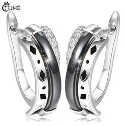 Brincos de moda feminina casamento bonito criativo jóias de cerâmica saudável u forma brinco de cristal natural zircon feminino brincos