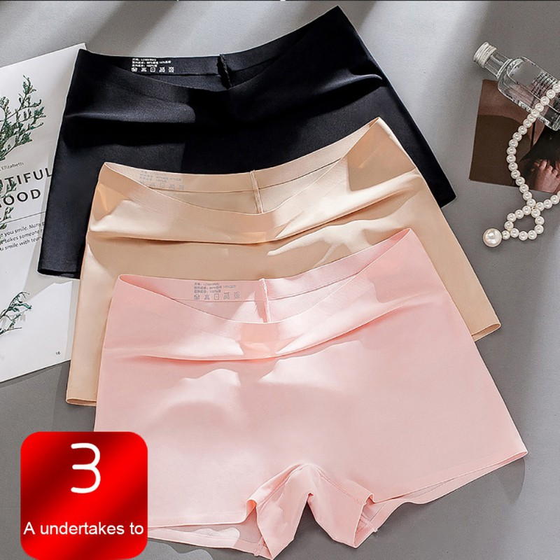 Hot Sale New Plus Size Ice Silk Seamless Sexy Breathable Safty Pants Pure Color Women Underwear Boxer Woman Panties Briefs