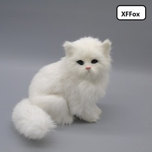 cute real life white sitting cat model plastic&furs simulation doll gift about 18x12x16cm xf1302