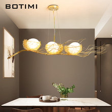 BOTIMI Birds LED Pendant Lights with Glass Lampshade For Dining Room Metal Cord Hang Lamp Adjustable Hanging Lighting Fixture(China)