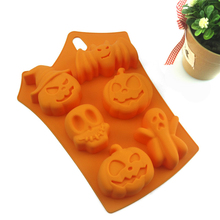 цена на 10Pcs Halloween party 3D Silicone Mold Fondant Craft Cake Candy Chocolate Sugar craft Ice Pastry Baking Tool Mould