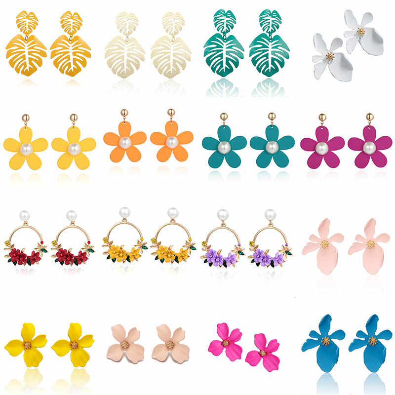 Korean Style Cute Flower Earrings For Women New Fashion Sweet Plant Drop Earrings Femme Brinco Temperament Wholesale Jewelry