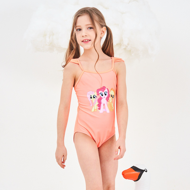 2019 New Hot Children's Swimsuit One-Piece Solid Color Adjustable Shoulder Straps Backless Cartoon Triangle Sequined Girls Swims