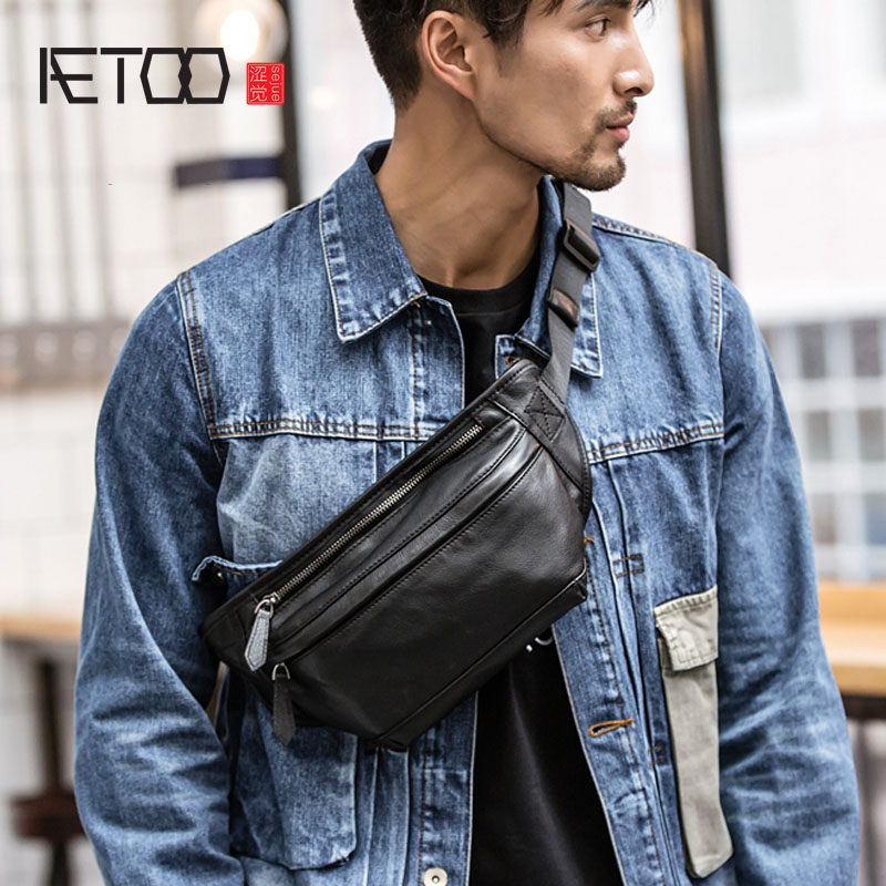 AETOO High Quality Men Genuine Leather Cowhide Vintage Sling Chest Back Day Pack Travel Fashion Cross Body Messenger Shoulder Ba