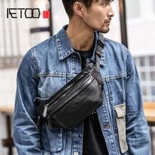 AETOO High Quality Men Genuine Leather Cowhide Vintage Sling Chest Back Day Pack Travel Fashion Cross Body Messenger Shoulder Ba