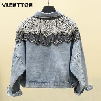 2020 Spring Autumn Womens Vintage Blue Short Jeans Jackets Chic Diamonds Beading Denim Coat Female Outwear Loose Cowboy Tops