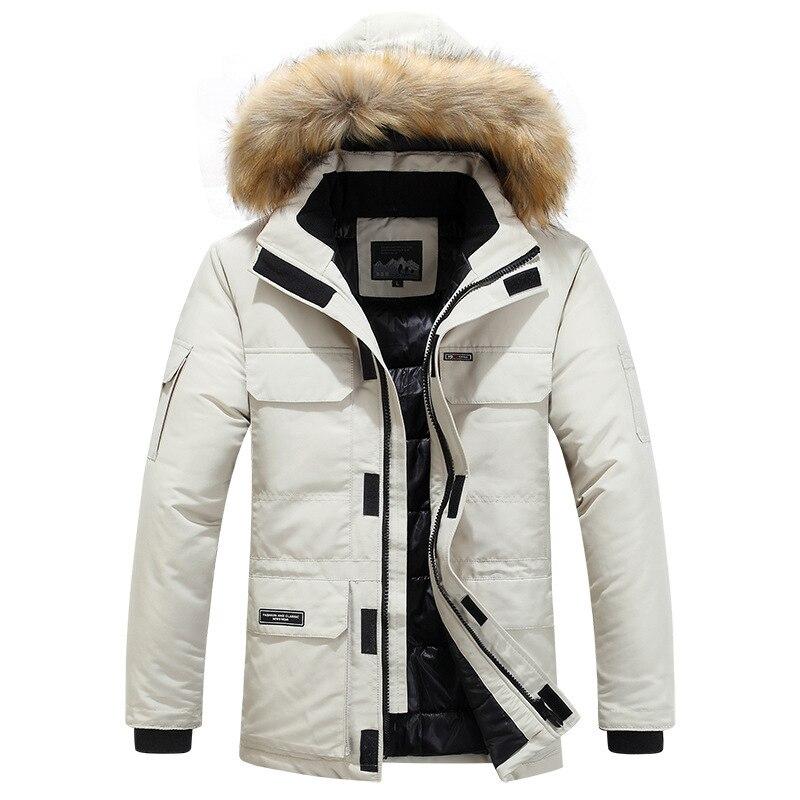Grande taille mi longue veste d'hiver hommes coupe vent épais chaud col de fourrure hommes Parkas multi poches Outwear classique nouveaux manteaux - 4