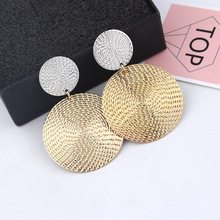 HOCOLE Statement Earrings 2019 Fashion Metal For Women Vintage Gold Silver Color Round Coin Drop Earring Simple Jewelry