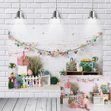 Photography Backdrops Happy Hoppy Easter Backdrop Children Newborn Baby Shower Birthday Party Spring Flower Photo Background(China)